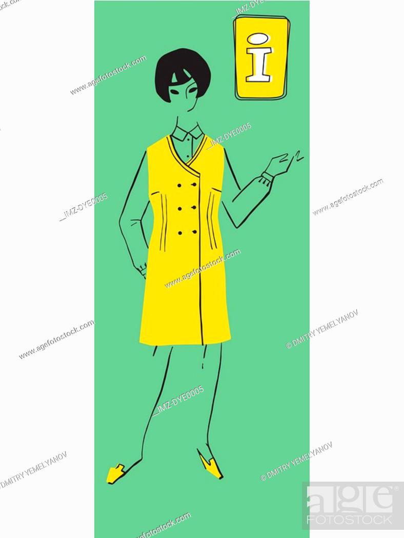 Stock Photo: A retro illustration of a female information desk assistant.