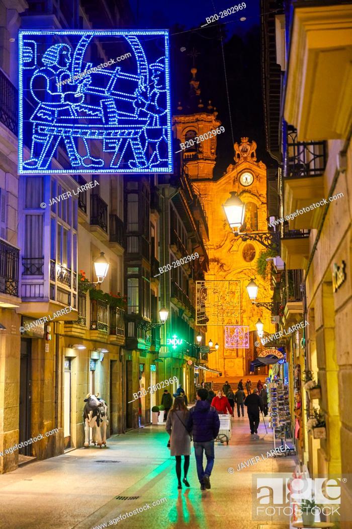 Photo de stock: Parte Vieja, Old town, Chritmas, Santa Maria Church, Donostia, San Sebastian, Gipuzkoa, Basque Country, Spain, Europe.