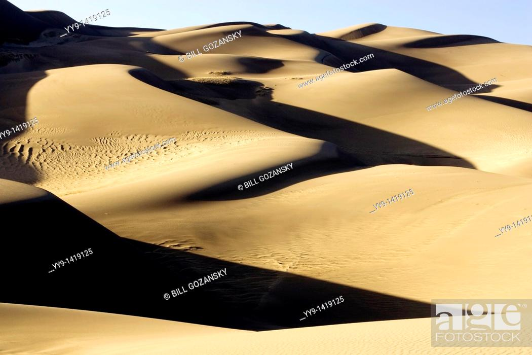 Stock Photo: Dunescape - Great Sand Dunes National Park and Preserve - near Mosca, Colorado.