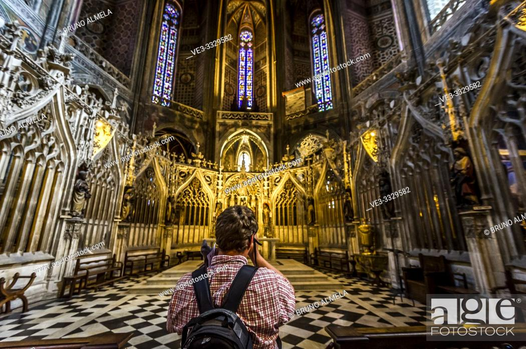 Stock Photo: Tourist inside of Albi Cathedral (Tarn Department, Occitanie Region, France).