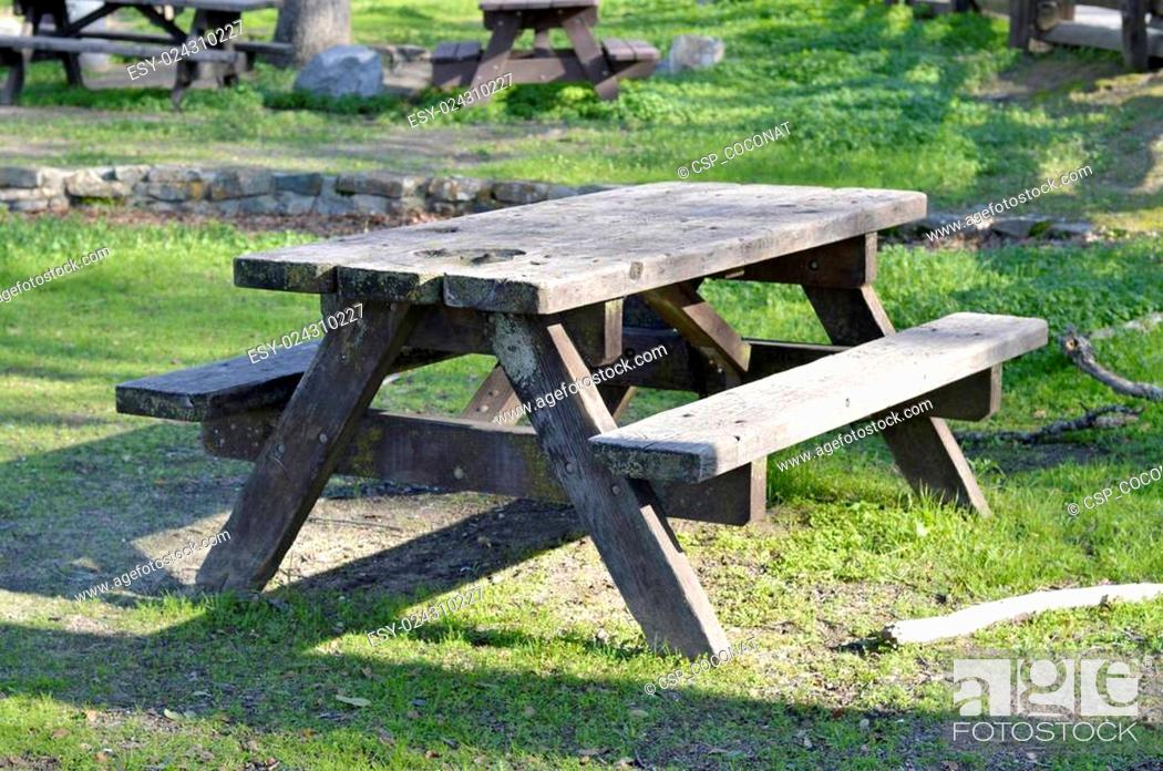 Stock Photo: Wooden picnic table.