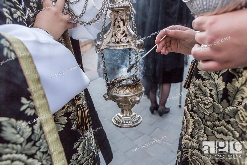 Stock Photo: Censer of silver or alpaca to burn incense in the holy week, Spain.