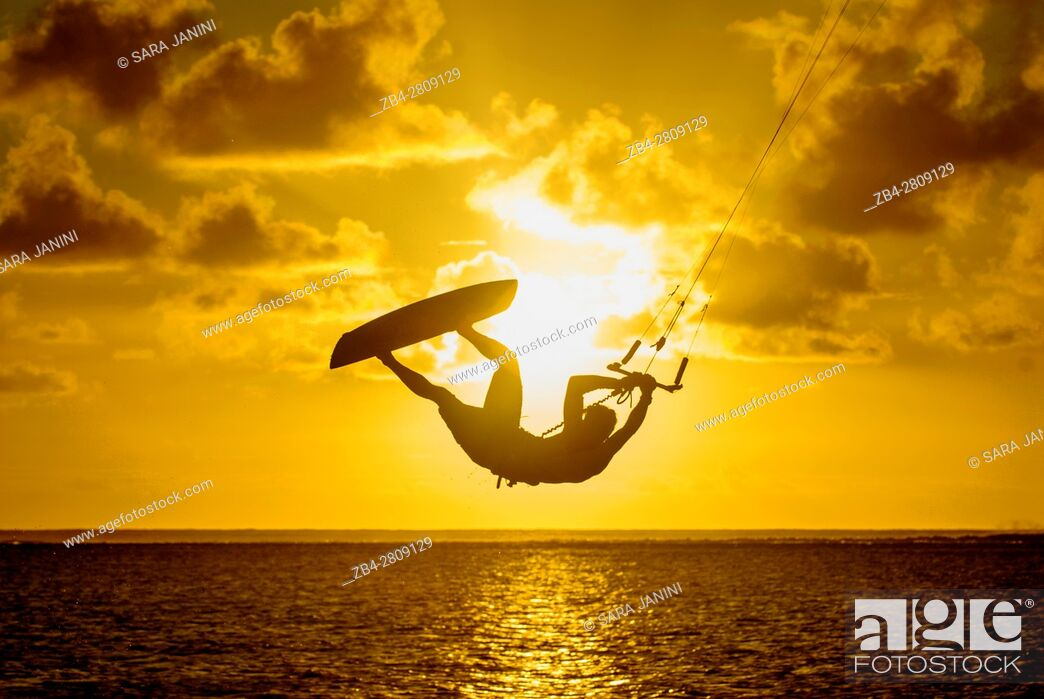 Stock Photo: Kitesurfer at Le Morne Brabant, Mauritius, Indian Ocean, Africa.