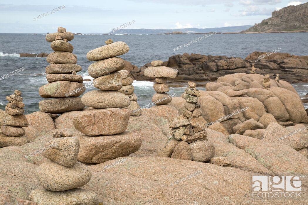Stock Photo: Rock Stack, English Cemetery, Trece Head Beach; Costa de la Muerte; Galicia; Spain.