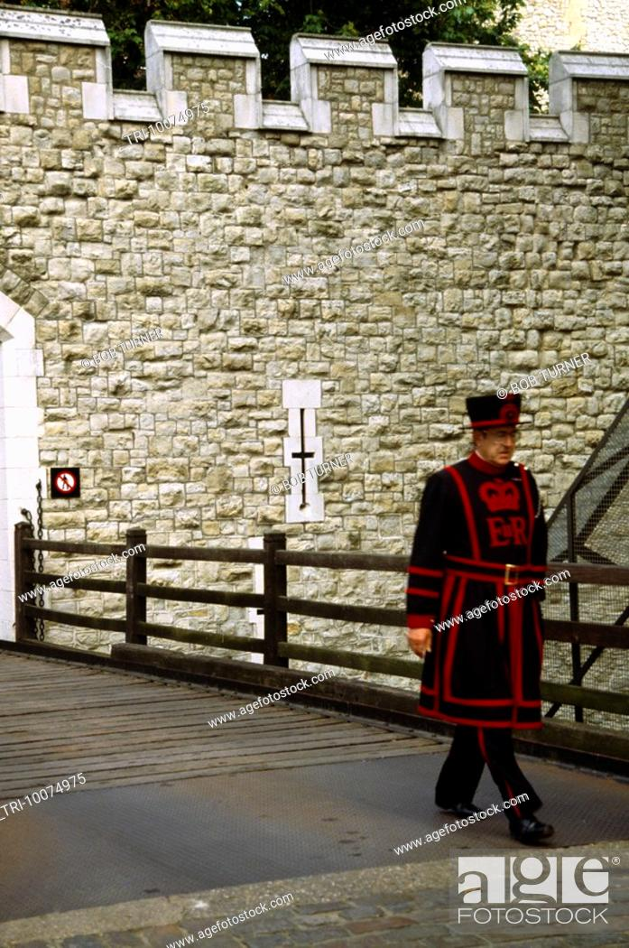 Stock Photo: Beefeater At Tower Of London.