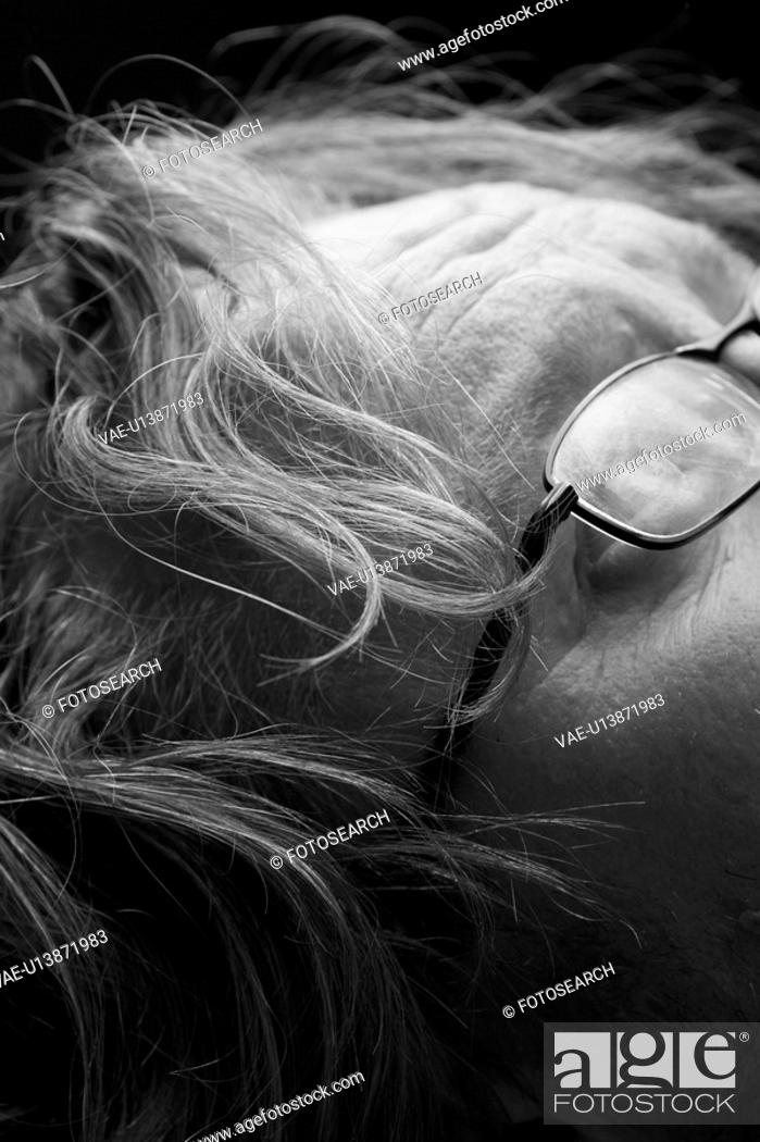 Stock Photo: Black And White, Extreme Close-Up, Eyeglasses, Forehead, Human Face, Indoors.