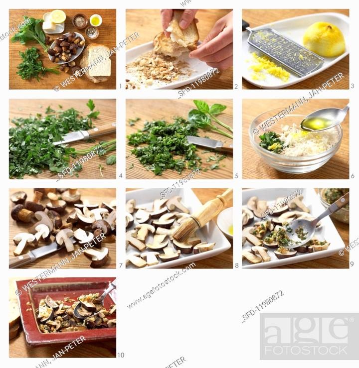 Photo de stock: Marinated chestnut mushrooms with gremolata being made.