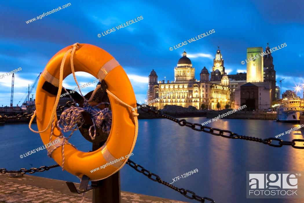 Stock Photo: Canring Dock, with the three graces of Pier Head the Royal Liver Building, The Cunard Building and the Port of Liverpool Building Liverpool  England  UK.