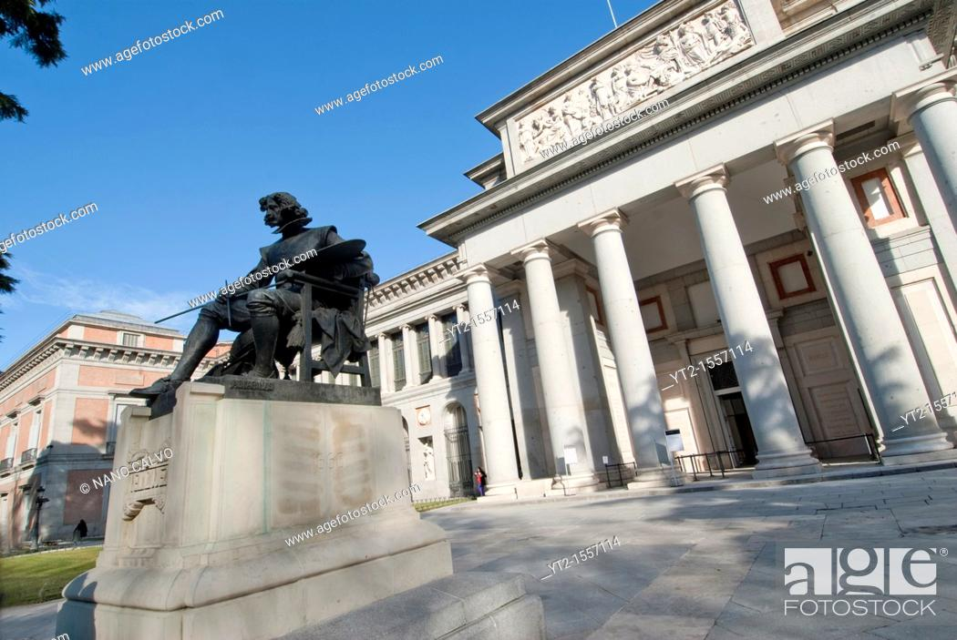 Stock Photo: One of the main promenade entrances to the Prado is dominated by this bronze statue of Diego Vel·zquez   The Museo del Prado is a museum and art gallery located.