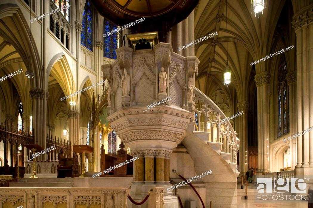 Stock Photo: Pulpit In St. Patrick's Cathedral, Midtown Manhattan, Nyc, USA.