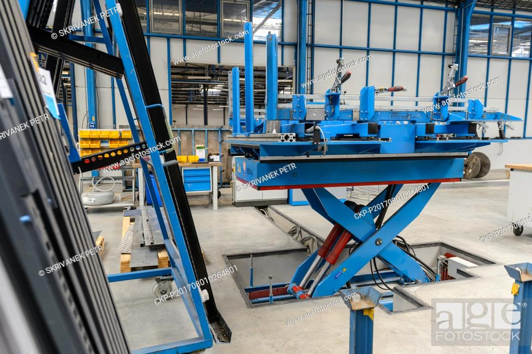 Stock Photo: The ergonomic assembly table in a production hall of the Hauser company is seen in Kaplice, Czech Republic, on July 27, 2017.