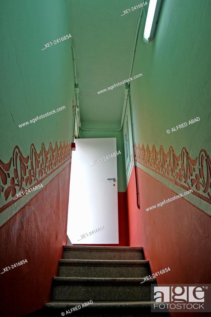 Stock Photo: Restored staircase, Building of La Fabrica del Sol, district of Barceloneta, Barcelona, Catalonia, Spain.