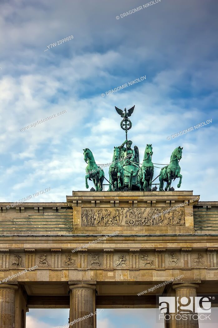 Stock Photo: The Brandenburg Gate (German: Brandenburger Tor) is a former city gate and one of the main symbols of Berlin and Germany.