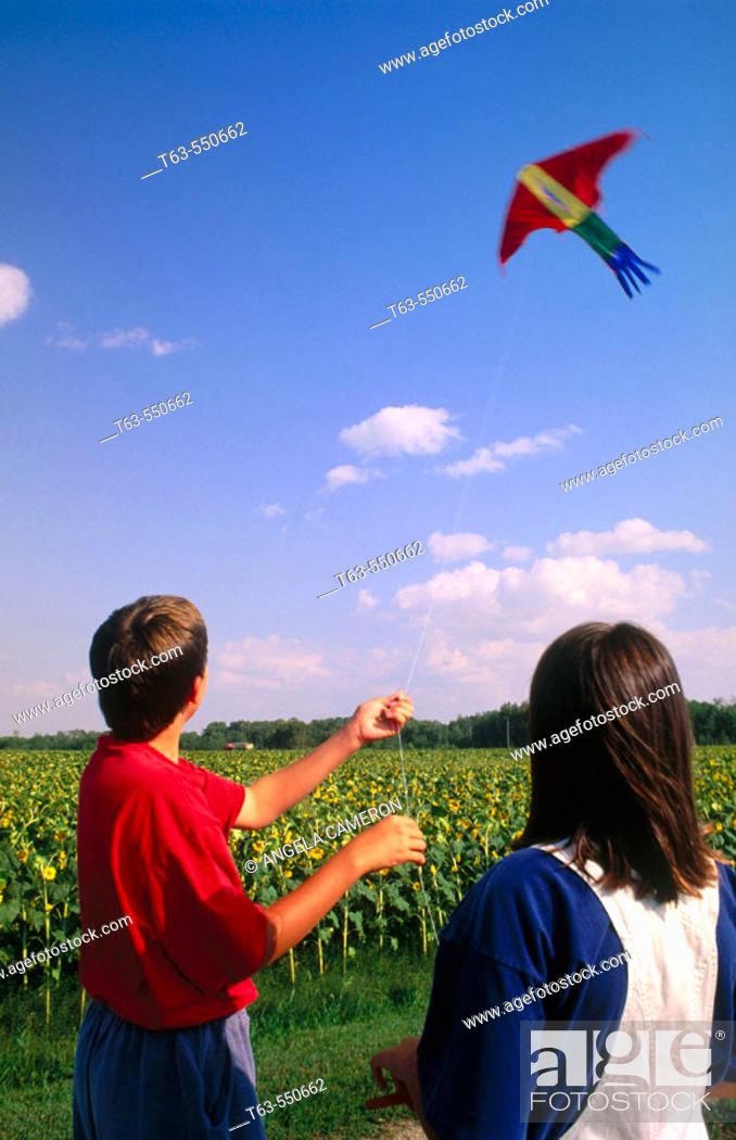 Stock Photo: boy and girl flying a kite together.