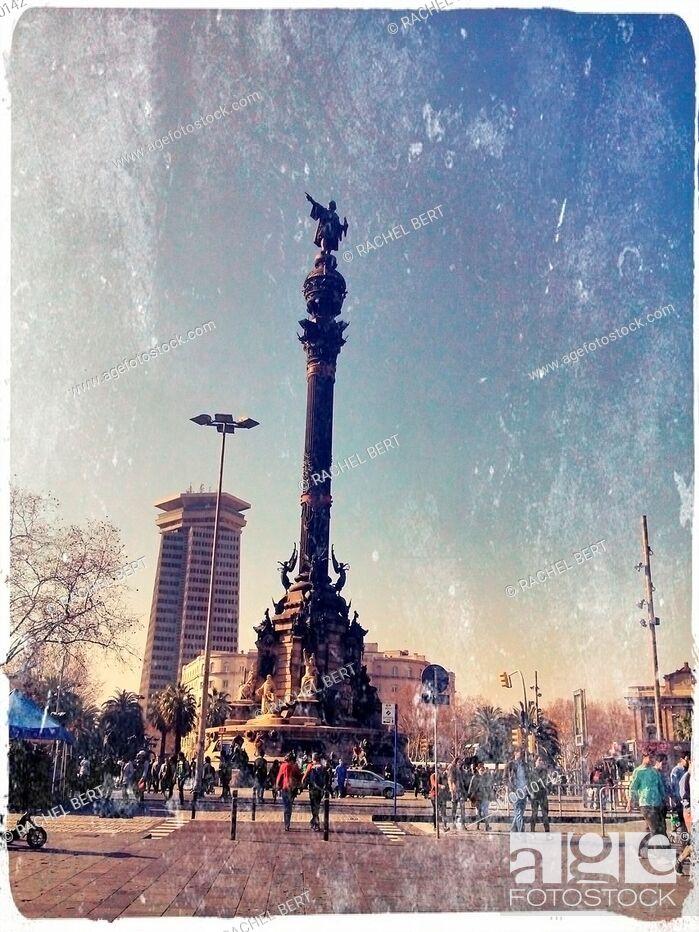 Stock Photo: Columbus statue, Port of Barcelona, ??Catalonia.