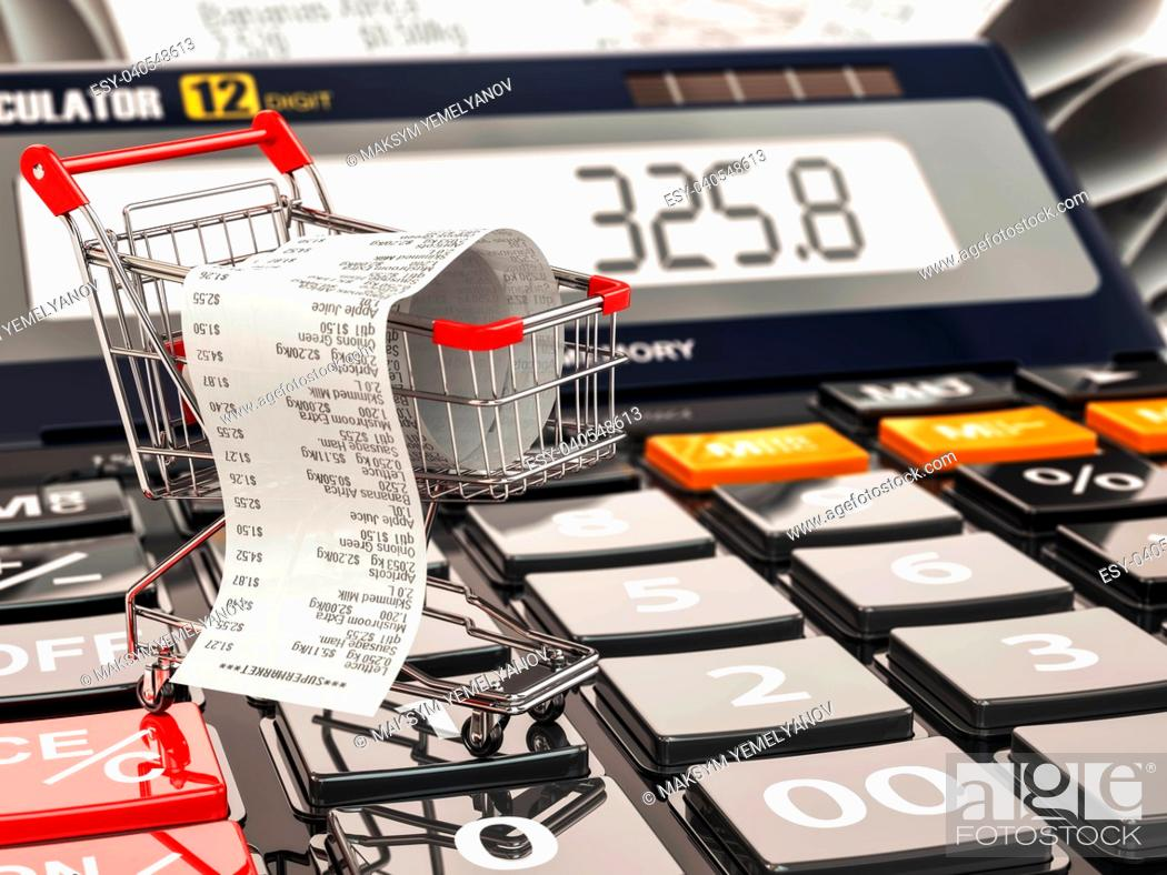 Stock Photo: Shopping cart on calculator and receipt. Home budget or consumerism concept. 3d.
