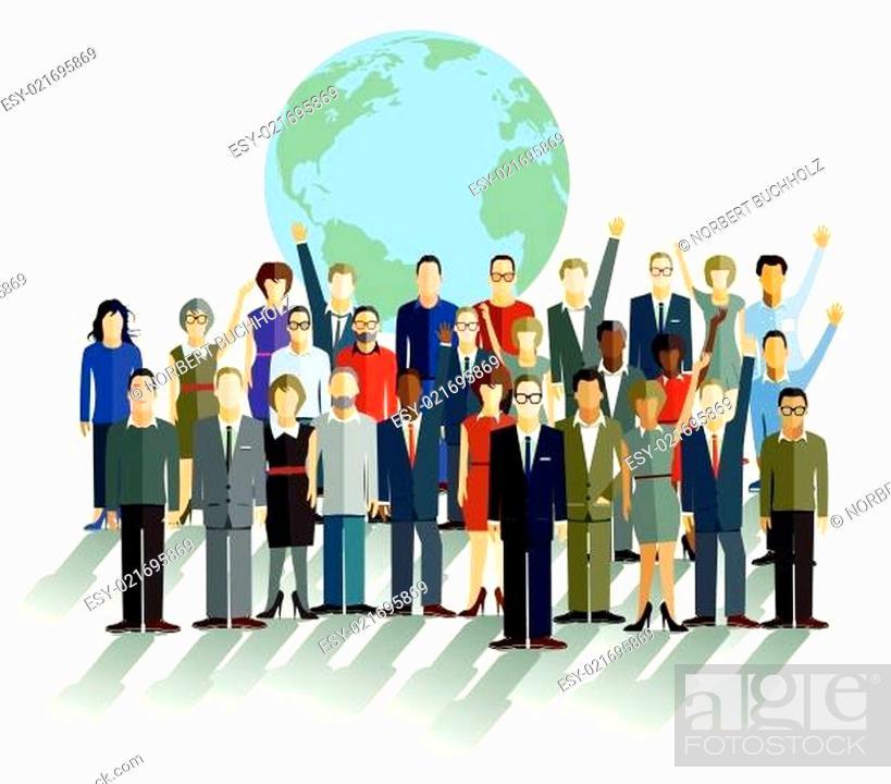 Stock Vector: Gruppe von Personen, vor einer Weltkugel.
