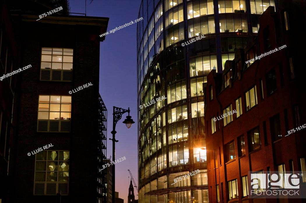 Stock Photo: Business buildings and offices in Liverpool Street, London.
