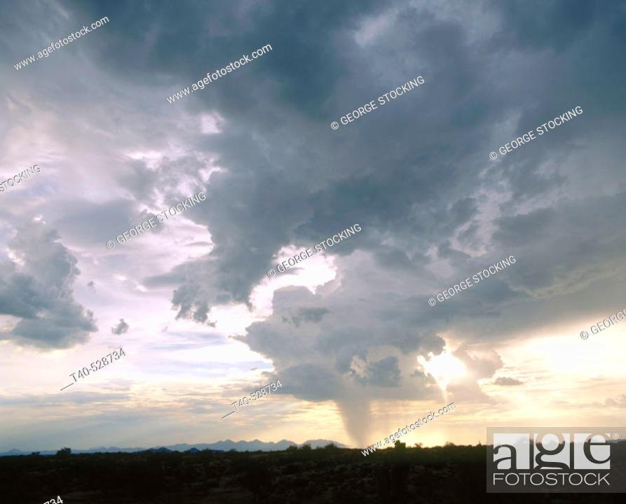 Stock Photo: A monsoon dumps rain on the lower desert under four peaks.Tonto National Forest, Arizona, USA.