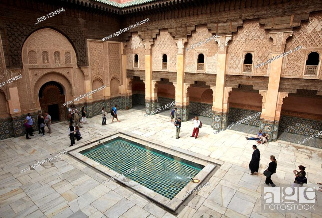 Stock Photo: Ali ben Youssef Medersa, Traditional islamistic theological university in the Medina of Marrakesh, Marruecos.