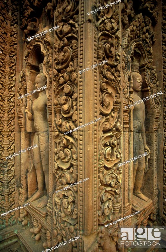Stock Photo: A stone figure in the Banteay Srei temple in the ruins city of Angkor in Cambodia in southeast Asia.