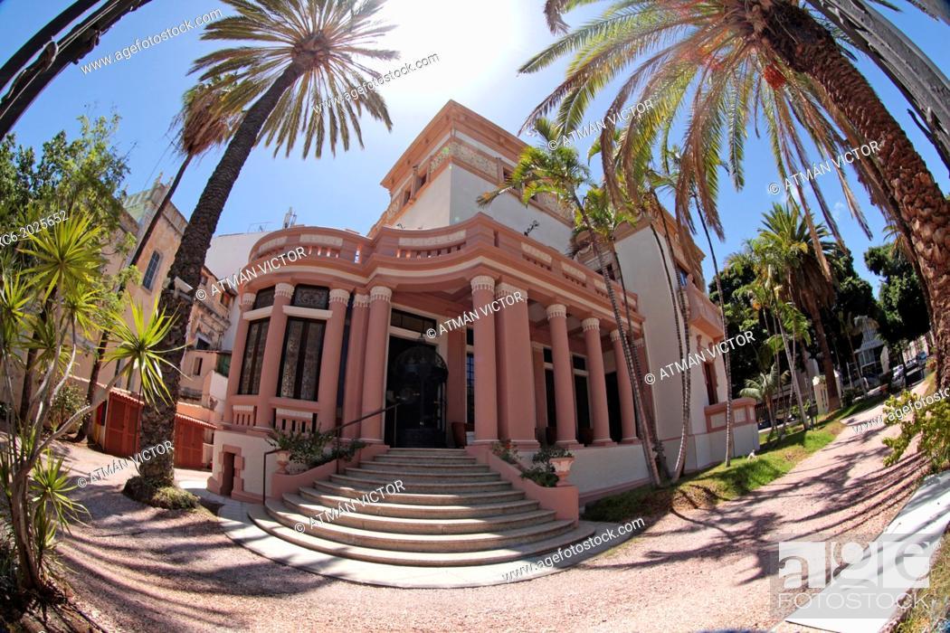 Stock Photo: fisheye view of Marti Dehesa Mansion in Plaza de Los Patos. Santa Cruz de Tenerife . Spain.