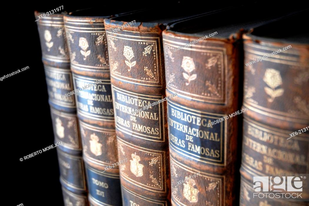 Stock Photo: Old books, book, antiquity, bookshelf, bookcase, library.