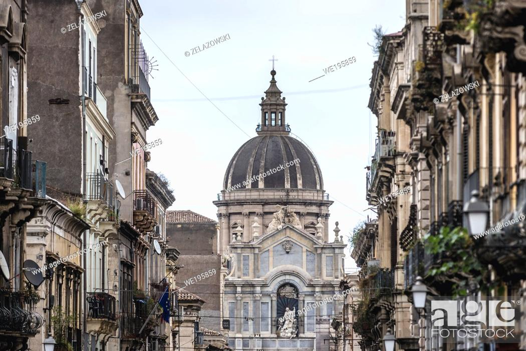 Stock Photo: Cathedral dedicated to Saint Agatha seen from Via Giuseppe Garibaldi in Catania, second largest city of Sicily island in Italy.