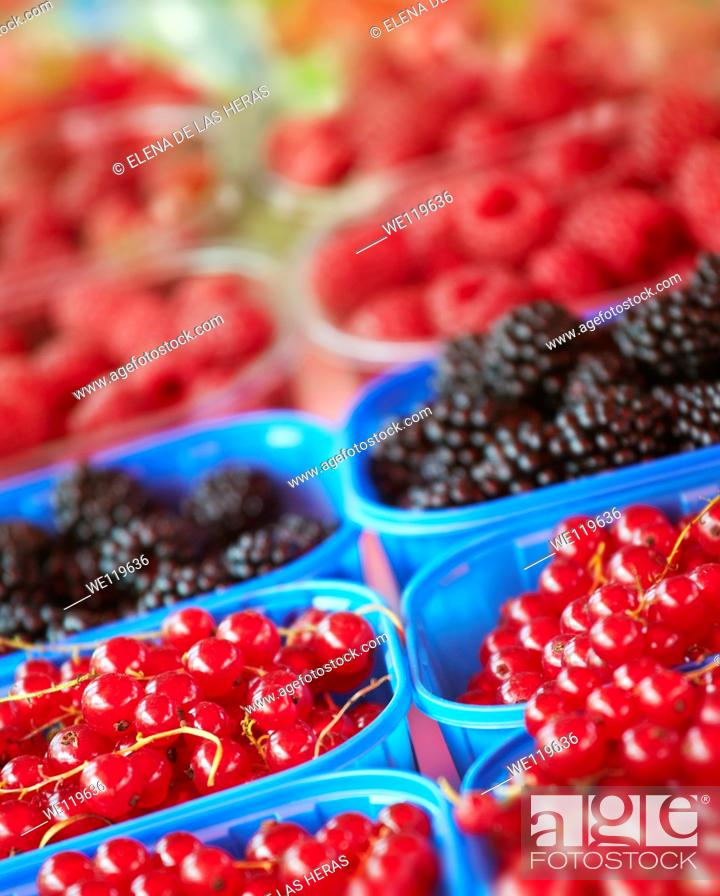 Stock Photo: Blueberries, raspberries and blackberries trays at a food market.
