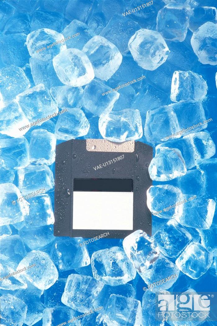Stock Photo: ice, object, floppydisk, compactdisc, water.
