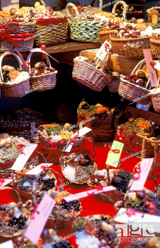 Little Christmas Italy.Little Baskets For Christmas Naples Italy Stock Photo