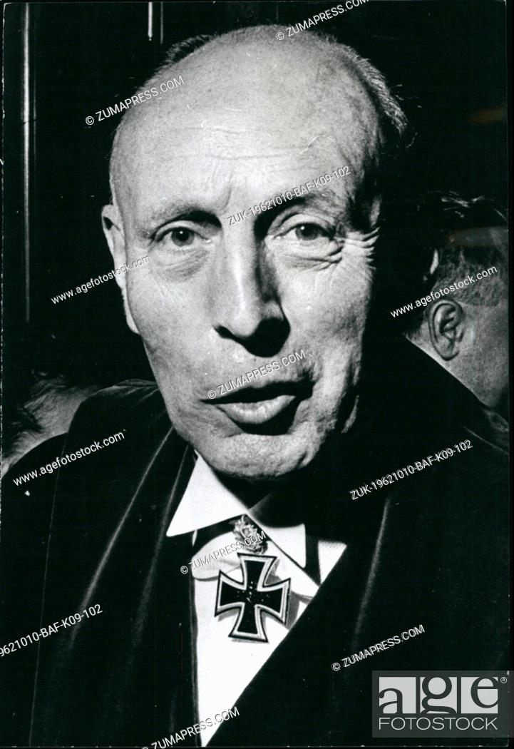 Stock Photo: Oct. 10, 1962 - Professor Dr. Friedrich August Freiherr von der Heydte of the University of Wuerzburg, Germany, who was recently promoted as General of the.