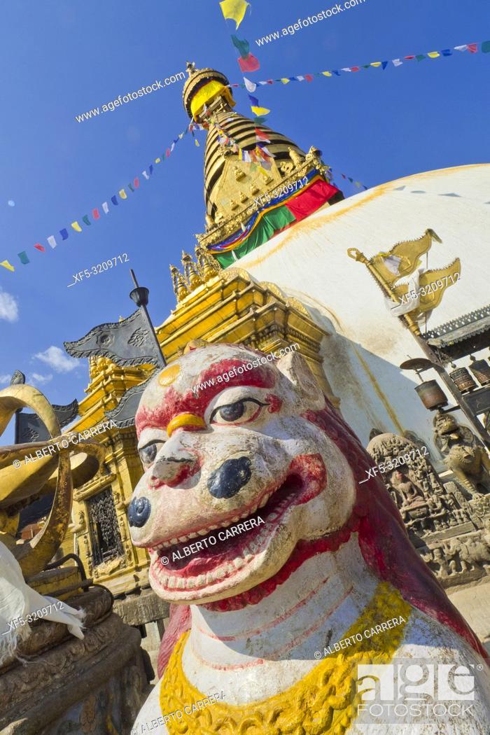 Stock Photo: Swayambhunath Stupa, Swayambhunath Temple, Monkey Temple, UNESCO World Heritage Siite, Kathmandu, Nepal, Asia.