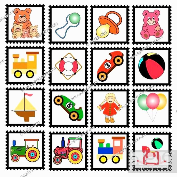Stock Vector: Marken mit Kinderspielzeug - freigestellte Vektorgrafiken.