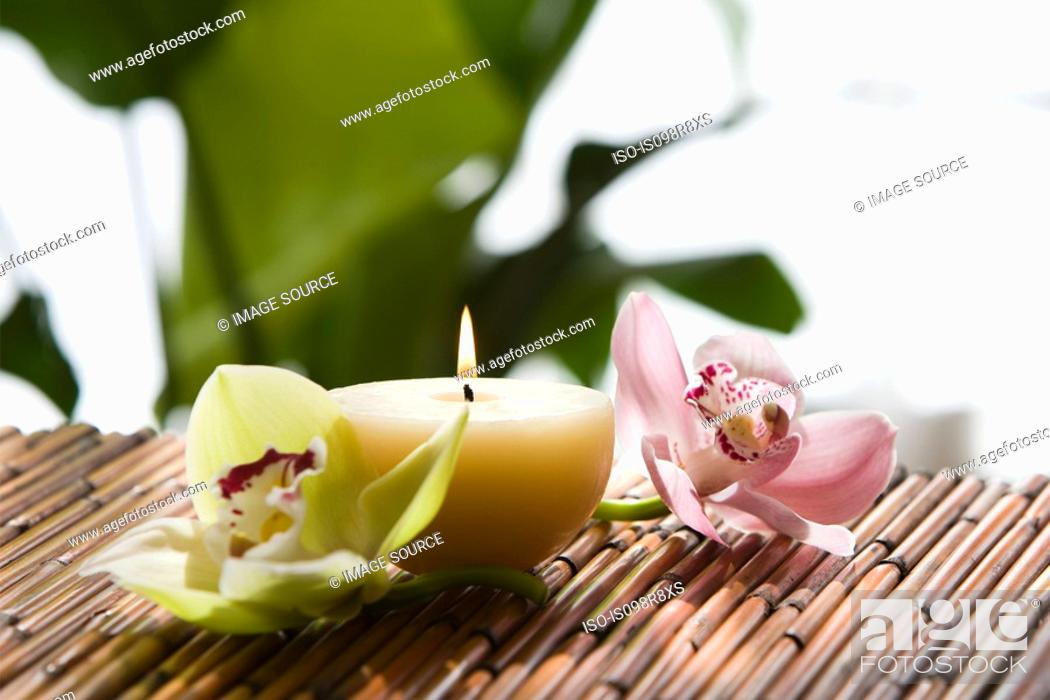 Stock Photo: Orchid flowers and candle.