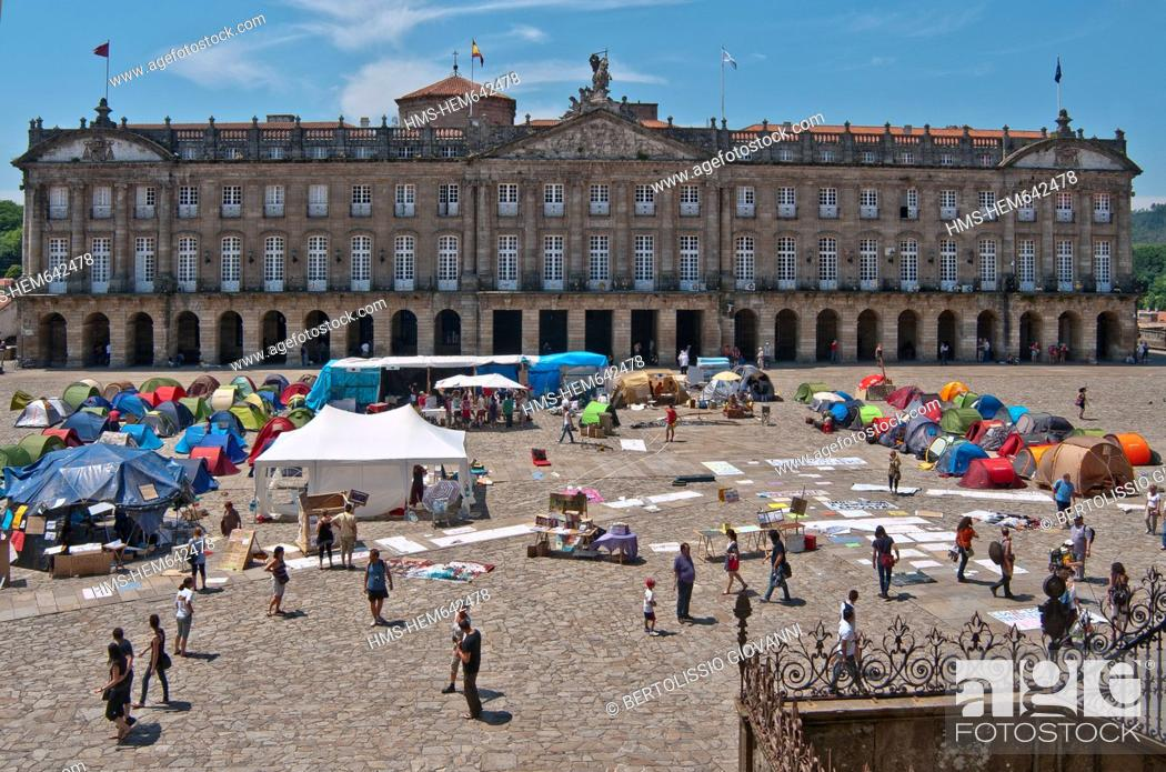 Stock Photo: Spain, Galicia, Santiago de Compostella, listed as World Heritage by UNESCO, Place Obradoiro do, Raxoi palace of the 18th century, the current City Hall.