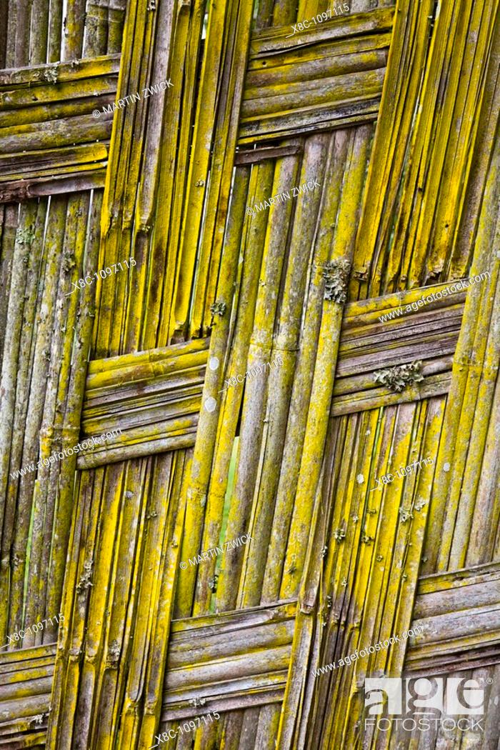 Stock Photo: Detail of a fence woven by the Dorze people of Ethiopia  The tribe of the Dorze is living high up in the Guge Moutains above the ethiopian part of the rift.