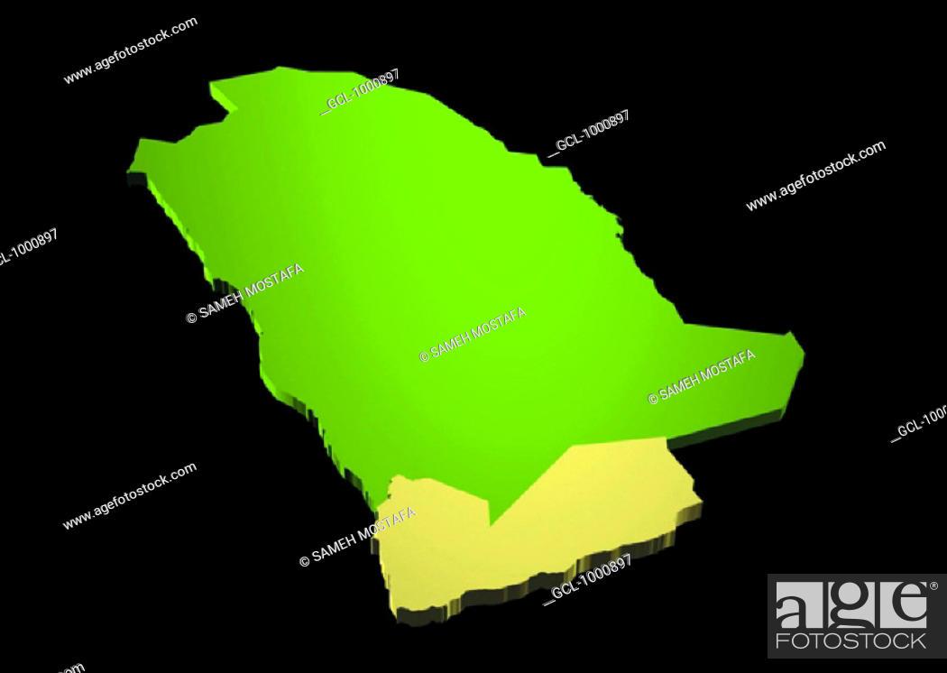 Stock Photo: map of Yemen and Saudi Arabia.