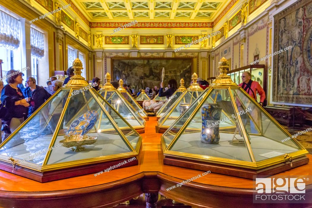 Stock Photo: Interior view of The Gold Drawing Room in the Winter Palace, The Hermitage, St. Petersburg, Russia.