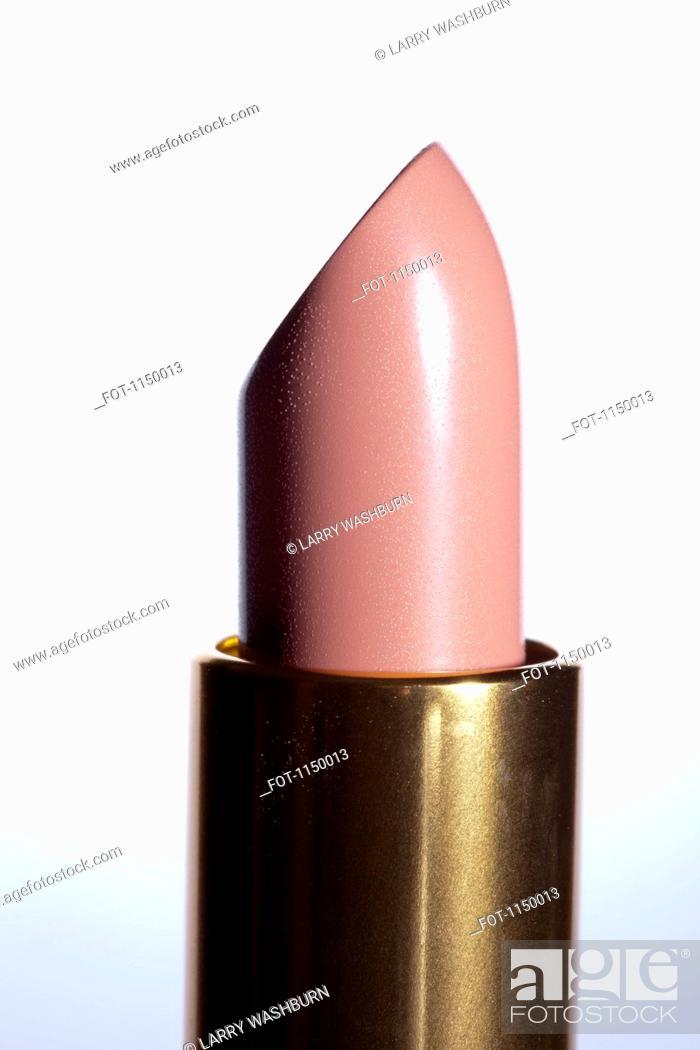 Stock Photo: A pink lipstick, close-up.