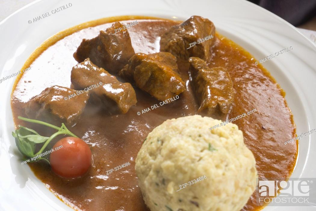 Stock Photo: Beef goulash with dumpling South Tirol Italy.