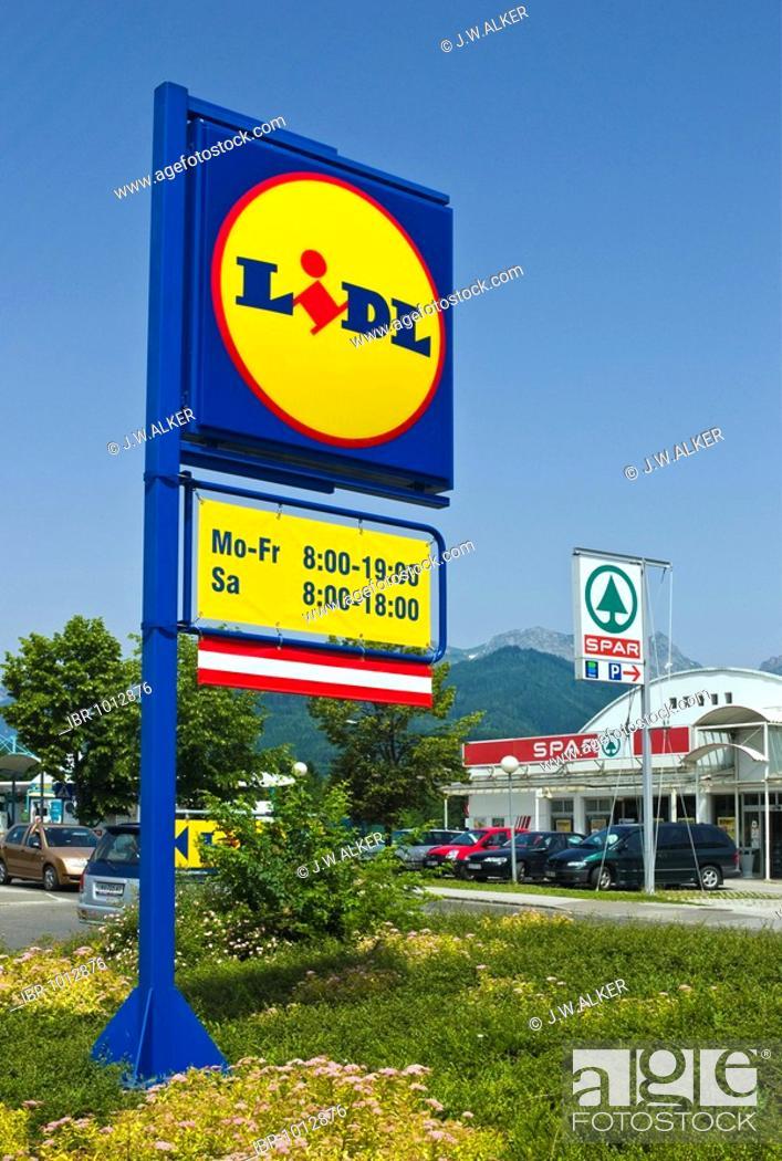 Signposts of Lidl and Spar supermarket chains, Austria