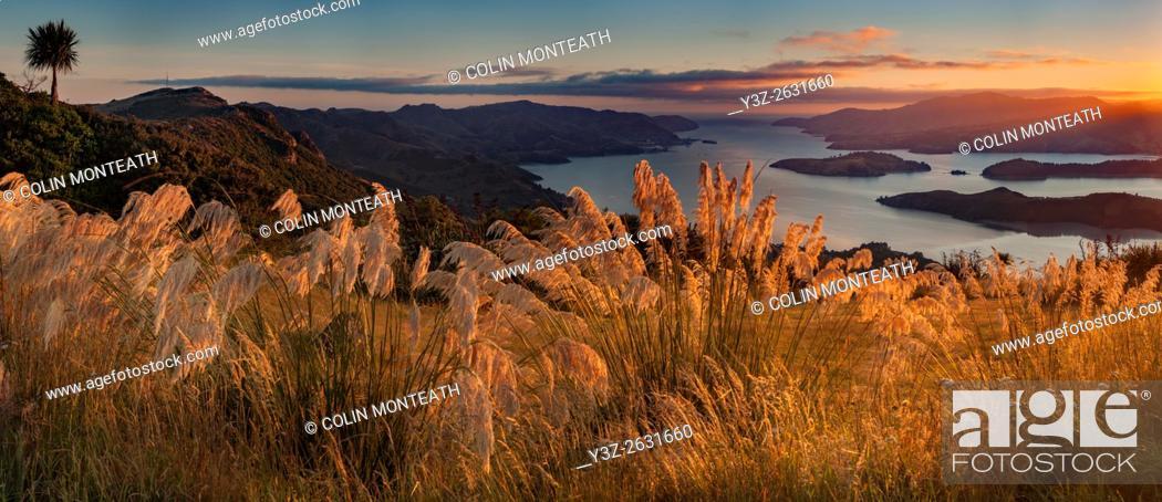 Imagen: Lyttelton harbour, dawn panorama from Port Hills, Christchurch, Canterbury.