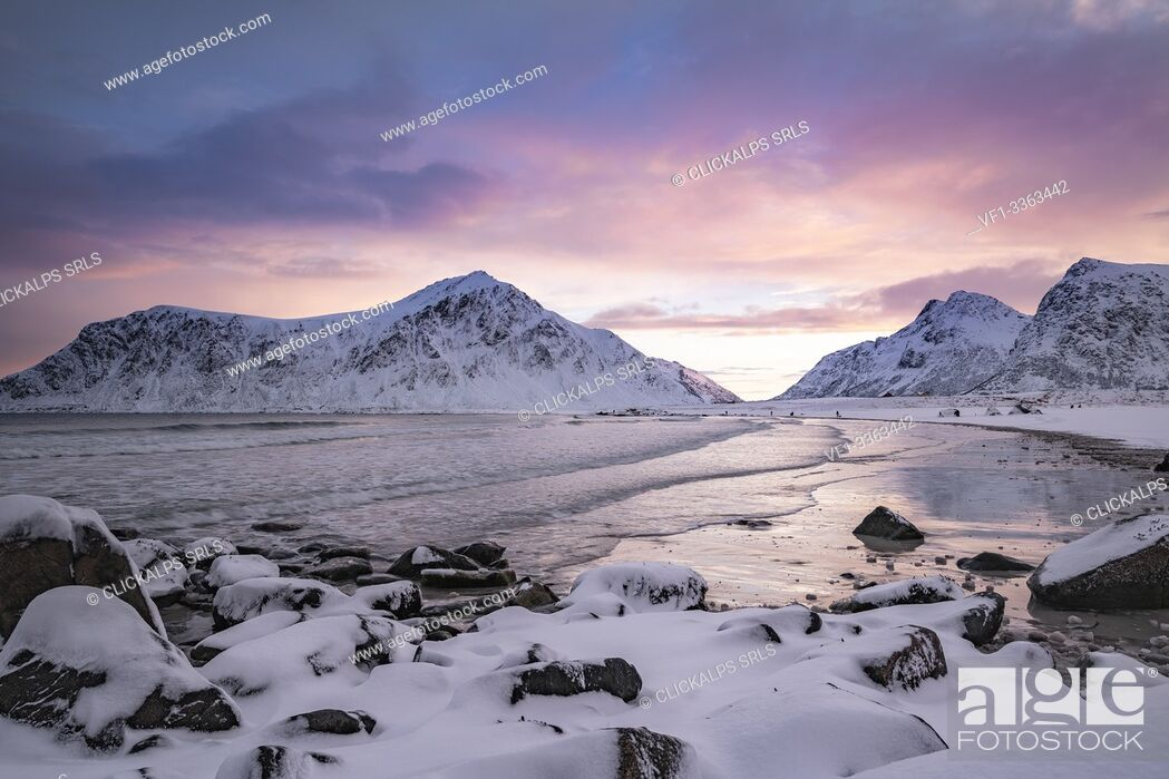Photo de stock: Skagsanden beach at dawn in winter, with rocks in the foreground. Flakstad, Nordland county, Northern Norway, Norway.