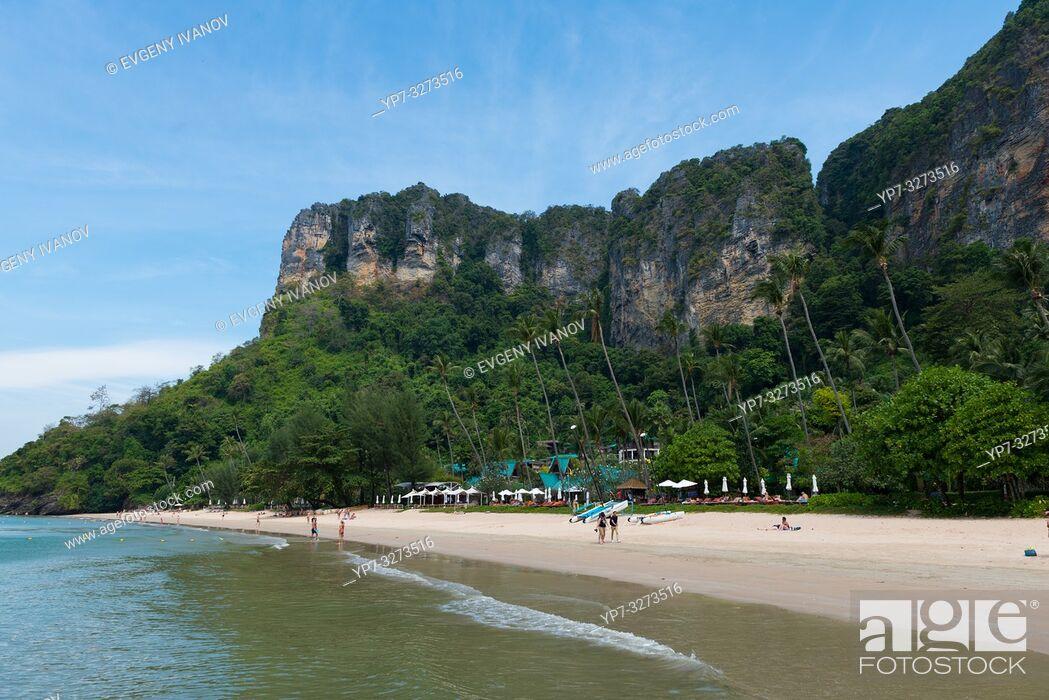 Stock Photo: Amazing cliffs behind Centara Grand beach near Ao Nang, Krabi province, Thailand.