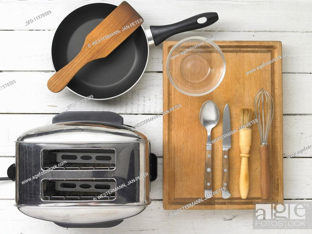 Stock Photo: Kitchen utensils for making toast and omelette.
