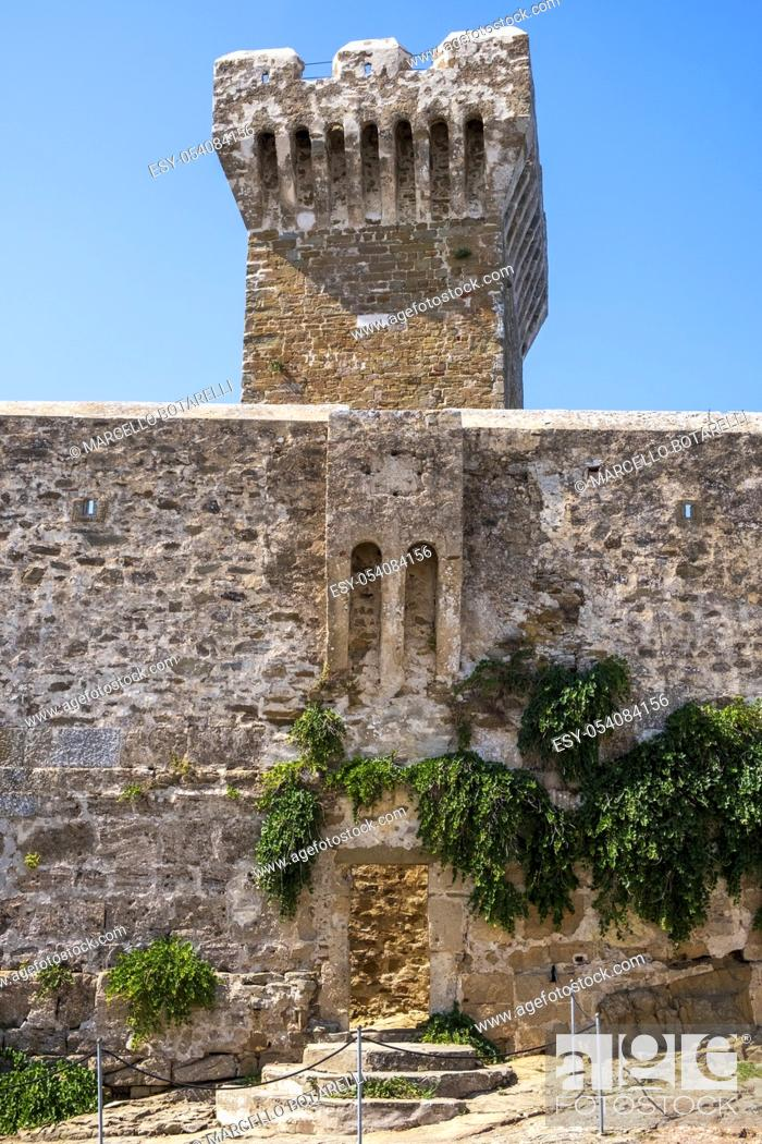Stock Photo: view of the tower of populonia, tuscany, italy, europe.