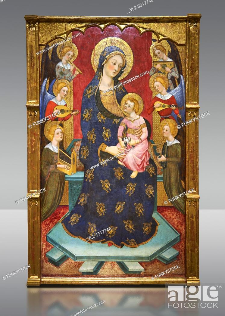 Imagen: Gothic painted Panel Virgin of the Angels by Pere Serra. Tempera and gold leaf on wood. Circa 1385. 195. 8 x 131 x 11 cm.