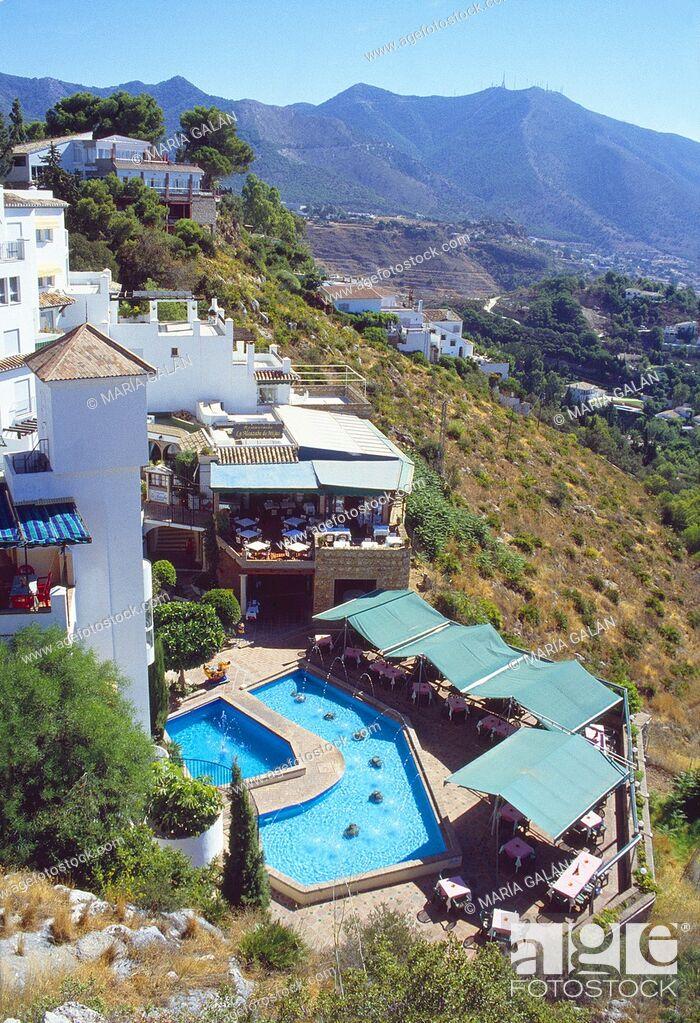 Stock Photo: Hotel and landscape. Mijas, Malaga province, Andalucia, Spain.