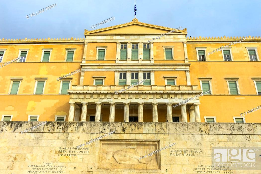 Stock Photo: Tomb of Unknown Soldiers Syntagma Square in front of Parliament Athens Greece.